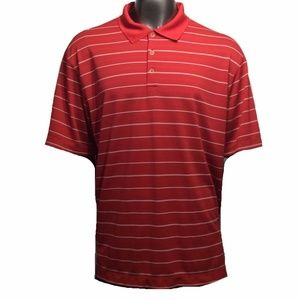 Nike Golf Men's XL Red W/ White Pinstripes Polo